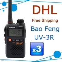 3pcs UV-3R Mark II Bulk packing baofeng dual display 136-174/400-470mHZ mini radio with free earpiece for Ham,hotel,drivers