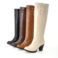 US 4-11 Big size on sale  2013 New Style platforms Med heels Slip-on Buckle boots for women pumps shoes HR-669-6