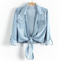 free shipping summer vivi sweet all-match sweep tieclasps turn-down collar denim shirt sun protection shirt ladies' blouse