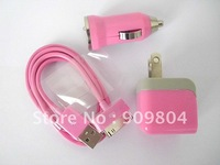 Pink Mini Car Charger + Travel Charger + USB Data Cable for iPhone 3GS 4S iPod Touch