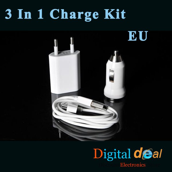 EU 3 In 1 Charge Kit For iPhone USB car charger + EU wall charger + data cable!10pcs/lot(Hong Kong)