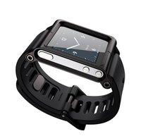 Aluminum Frame Bracelet Watch/Wrist Band for Apple iPod nano 6 Cover Case BLACK