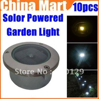 Solar Powered Outdoor Garden Light LED Home Path Landscape 2 LED Lamp Stainless Express 10pcs/lot