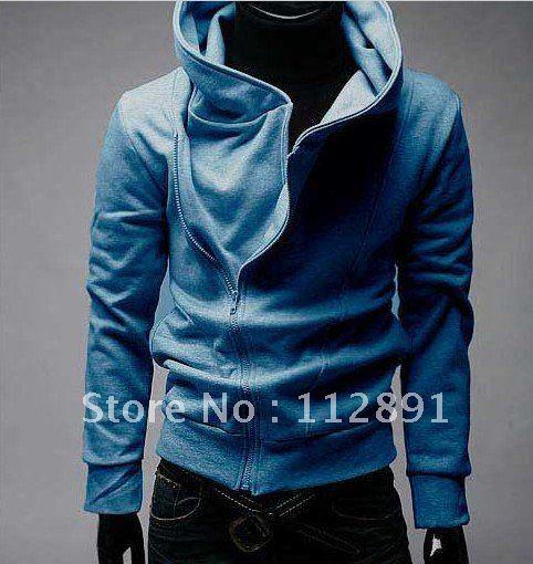 Oblique zipper Mens Hooded Sweater M004