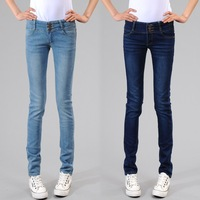 Free Shipping Tight slim breasted high waist jeans female skinny pants pencil pants casual pants