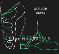 WSP67  Sports,dance & games  designs rhinestone transfer(Green dance shoes)