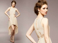 Women summer Design Asymmetric Hem Party evening Long chiffon dress D368