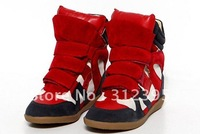 Hot Womens Velcro Strap High-TOP Sneakers Shoes / Ladys Ankle Wedge Boot F1