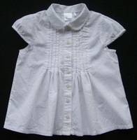 baby girl summer 100% cotton baby girl white short-sleeve shirt Blouses  child clothing