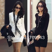 Fashion Korean women's office OL long sleeve slim short Dresses D383