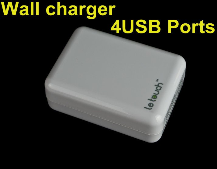 Funny USB gadgets! 4 USB travel charger 5V-1A with US, UK, EU, AU plugs interchangeable(China (Mainland))