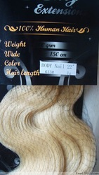 "Retail Virgin Brazilian Factory Outlet Price AAA+ 22"" Human Hair Extensions Nail Tip 100g Body Wavy #613 Beach Blonde(China (Mainland))"