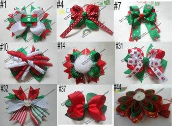 Free shipping 25pcs/lots Christmas Bow Hair Accessories Christmas Hair bows  Hair Clip No MOQ for each designs