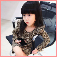2014 Spring/Autumn 100-140cm Children Kids Girls Classic Leopard Print Cashmere Long Sleeve One-Piece Dresses ,5 Sizes/lot