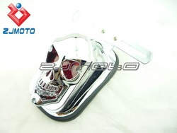 Motorcycle ABS Skull Taillight Assembly Chrome Fits Harleys, Choppers, Custom Tail light fat boy dyna Taillamp brake lights(China (Mainland))