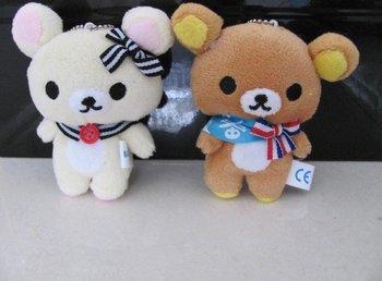 10PCS Kawaii Standing 11CM Rilakkuma Bear Plush Stuffed TOY Soft Figure DOLL , Key Chain Design TOY  DOLL BAG Pendant Charm