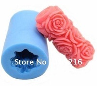 Free shipping!!!New  3D Cylindrical Rose (LZ0079)  Silicone Handmade Candle Mold DIY Mold