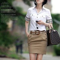 Free shipping 2013 summer OL outfit  shirt female short skirt set,skirts,suits for women