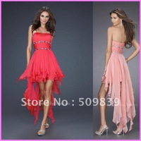 Free Shipping Strapless Pleats Beading Chiffon Wholesale Homecoming Cocktail Party Dresses