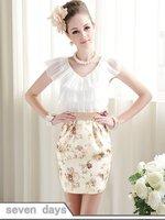 чистый цвет приталенный Fit площади шеи кружева с коротким рукавом платье в черный cl060333ba