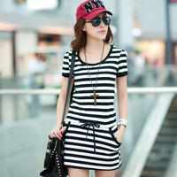 2012 summer plus size stripe slim fashion short-sleeve women's elegant one-piece dress