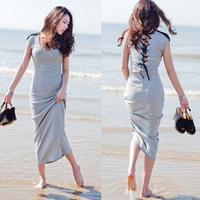 2012 new arrival casual sanded cotton racerback sexy behind the bandage one-piece dress skirt slim full dress