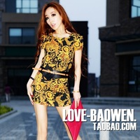 Leopard print 2012 xiaxin fashion vintage print fancy puff sleeve slim hip sexy one-piece dress