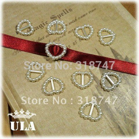 [wholesale:1000pcs/lot] Free shipping white 15*16mm ribbon slider heart flatback pearls nail cellphone laptop art(China (Mainland))
