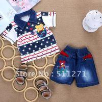 Free Shipping  boys clothing summer 2012 star Stripes baby set short-sleeve Cotton T-shirt denim