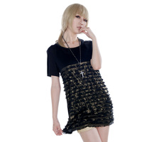 Dolly delly limited edition black gold wave cake sweep thin ultra long slim hip female t-shirt