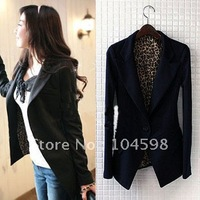 Free shipping!2012 Women's blazers leopard print Lining slim fit one buckle black suit ,F013cn