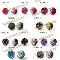 Серьги Christmas Hoop Earrings 10mm AB ClayCrystal Ball Fashion Shamballa Earrings Mixed Option SHFHmix2