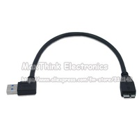 left angle USB 3.0 A male to Micro B male cable,Black color / Free shipping ,1pc