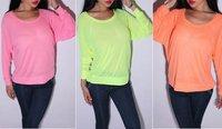 Neon candy color long bat sleeves women fluorescent  top shirt blouse/1 piece Free shipping women neon Shirt/F0704