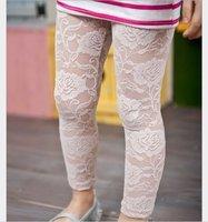 2 colors to choose,Hot  girl fashion summer leggings,Child Lace leggings,Kid Rose Ninth pants,Wholesale Free shipping 9 pcs/lot