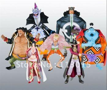ONE PIECE figure set Seven Gods Of Pirate  Boa Hancock+Mihawk+Kuma+Doflamingo+Jinbe+Teach+Gekko Moria 7pc PVC Figure