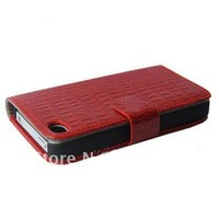 New Wallet Flip Leather Case Hard Cover Skin For Apple iPhone 4 4G 4S Red, Free Shipping, A015