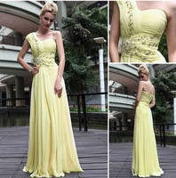 Pale yellow one shoulder chiffon beaded bridesmaid dresses