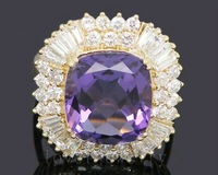 Vintage Cushion 14kt Yellow Gold 9.80Ct Natural Diamond Purple Amethyst Wedding Ring SR0002