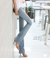 Free shipping new fashion women's slim bootcut jeans women back pocket embroidered white denim pants slim bell-bottom
