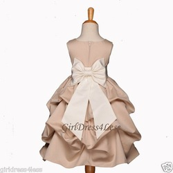 CHAMPAGNE/IVORY WEDDING PICK UP FLOWER GIRL DRESS 6M 9M 12M 18M 2 4/4T 6 8 10 12(China (Mainland))