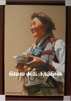 LIUXIONGGUANG---aTibetan lady  with a silver bowl ,dress in white and jewelryoriginal 100% and professional painting