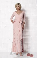 CJM-00421 Beautiful Half Sleeves Chiffon Tiered Ankle Formal Mother of the Bride Dresses