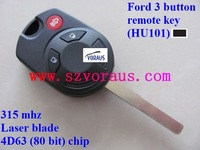 Ford 3 button remote key (HU101),315 mhz 4D63 80 bit chip (2007-2013 year)