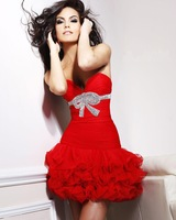 Sweetheart Strapless Crystal Beaded Pleating Beaded Short Cocktail Party Dress HL-PD603