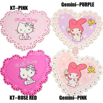 Free shipping!992 hello kitty Design cartoon cup mat,sweet cup pad,coaster /4 colors