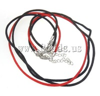 Free Shipping Nylon Necklace Cord, with brass 2inch extender chain & lobster clasp, mixed color, 2.5mm, 50Strands/Group, 18 Inch