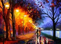 Free Shipping !!! The Young Couple, Knife Landscape Oil Painting On Canvas.Landscape Wall Art  jyjrfj091