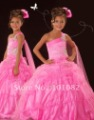 Free Shipping 2012 Style Lovely One-shoulder Pink Hot Cheap Flower Girl Dress Pageant Dress for little girl