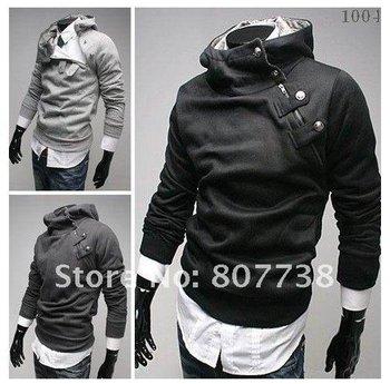 Free shipping brand men's jacket, men's outerwear rabbit fur collar men's dust coat Sweatshirt